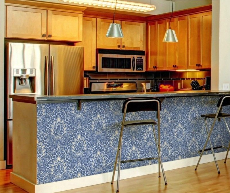 Use removable wallpaper on your kitchen breakfast barTemporary
