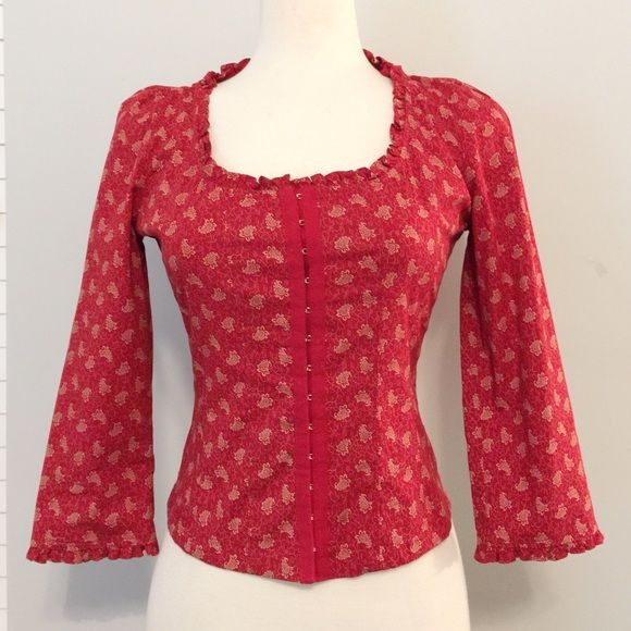 Red Paisley Ralph Lauren Top Offers Welcome  This cute, casual top is in LIKE NEE condition // looks great paired with jeans and wedges // front of shirt is corset-like as it buttons up with  clasps and hooks // measures about 19 inches from shoulder to hem // no holes, stains or imperfections // comes from a smoke free environment // NO trades, please. Ralph Lauren Tops Blouses