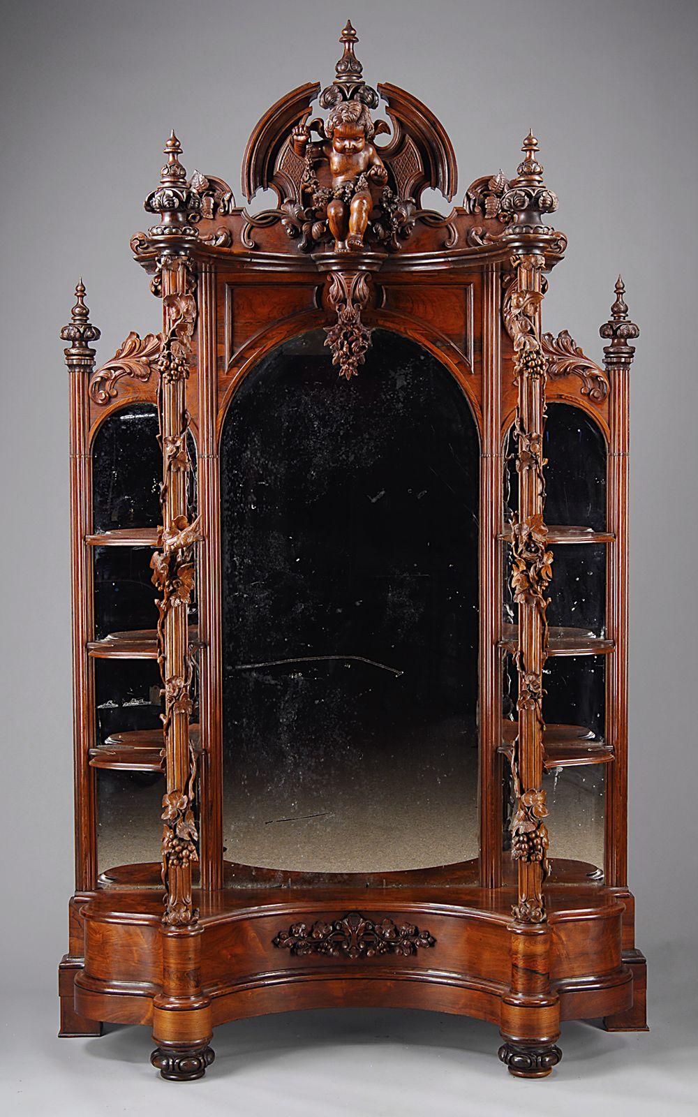 ornate cherub mirror Gothic furniture, Victorian