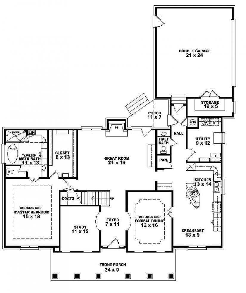 654280 one and a half story 4 bedroom 3 5 bath - One story four bedroom house plans ...