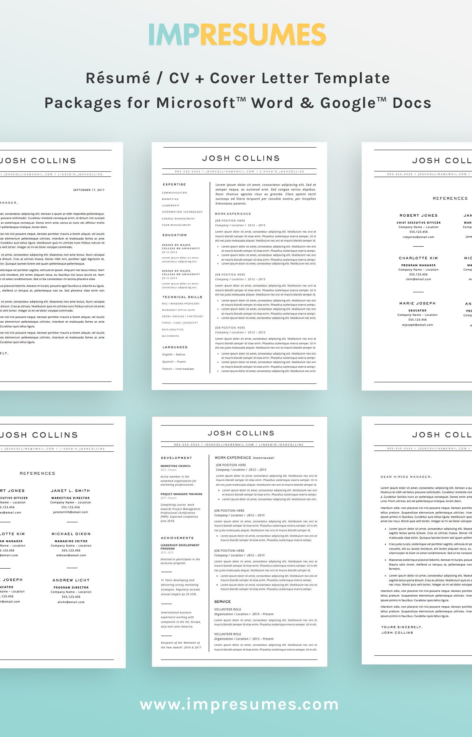u0026 39 the collins u0026 39  resume    cv template package for microsoft