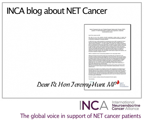 INCA blog - Supports the NET Cancer community in UK.  The International Neuroendocrine Cancer Alliance (INCA) @netcanceday strongly supports the neuroendocrine (NET) cancer community in the United Kingdom in its efforts to alleviate the devastating side effect of removing an outstanding, life changing treatment, Peptide Receptor Radionuclide Therapy (PRRT) Lutetium-177 DOTA Octreotate. http://incalliance.org/inca-support-the-net-cancer-communi…/