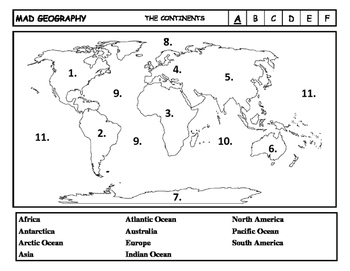 image about Map of Continents and Oceans Printable referred to as Crazy Geography Continents and Oceans Blank Map Assessments