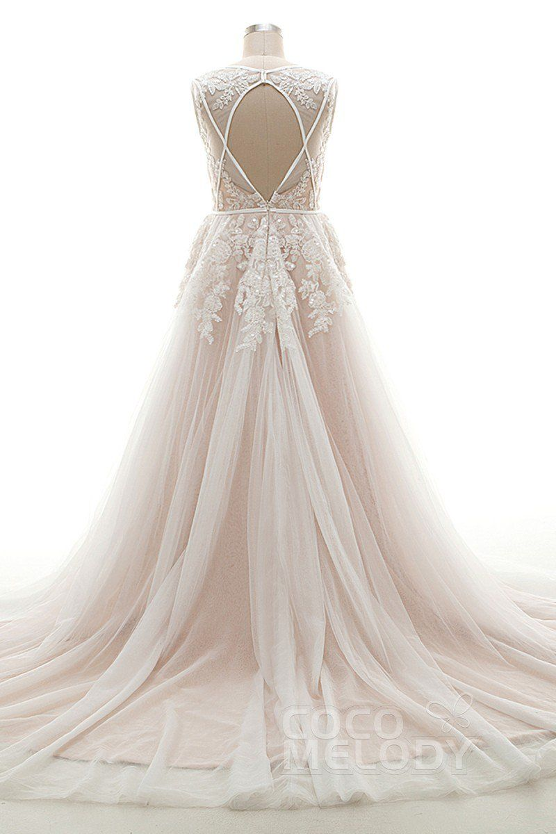A-Line Court Train Tulle and Lace Wedding Dress LD3932