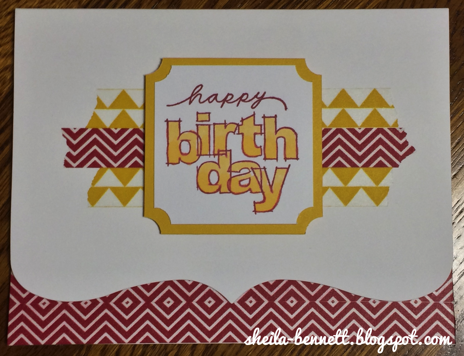 Sheila's Stamping Stuff: Washi Tape ~ Stampers With An Attitude (Blog Hop).   Heartfelt Birthday Wish stamp with Washi Tape