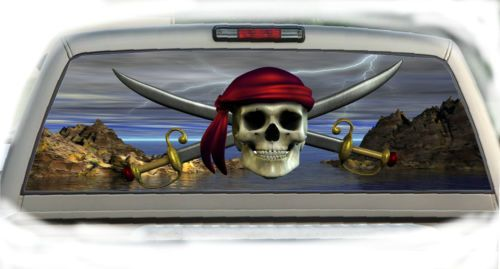 Details About Skull Pirate Rear Window Vehicle Graphic Tint - Rear window hunting decals for trucksvehicle graphics rear window graphics road hunter custom truck