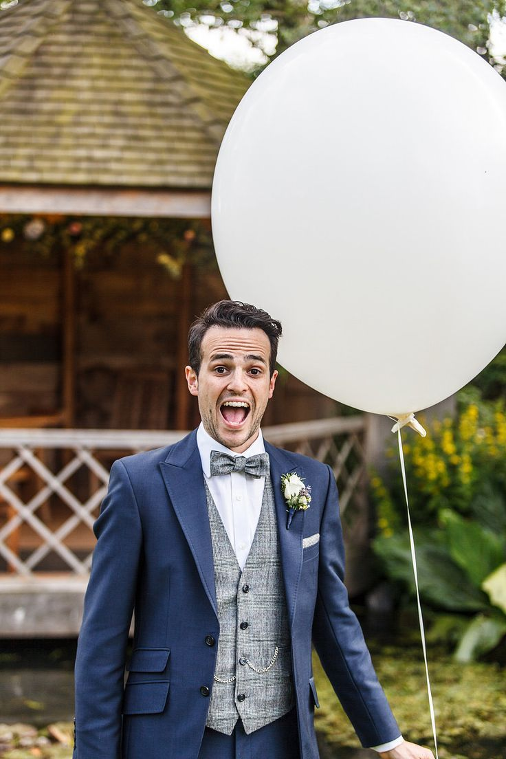 39b3180dd4ba Herringbone waistcoat   bow tie with blue suit - Image by Lina and Tom  Photography - An outdoor DIY wedding ceremony in Cambridgeshire England  with bright ...