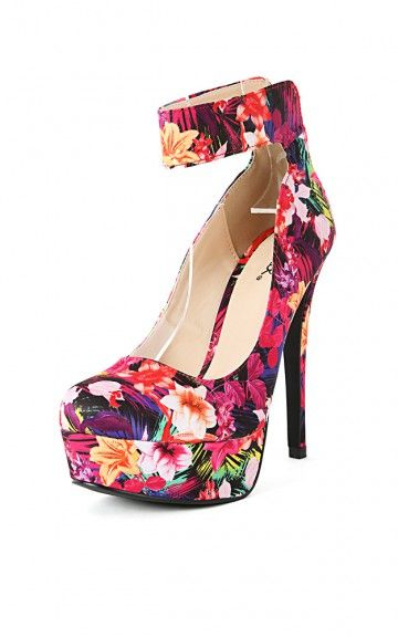 Qupid Sanity-04 Floral Ankle Strap Pumps FUCHSIA MULTI