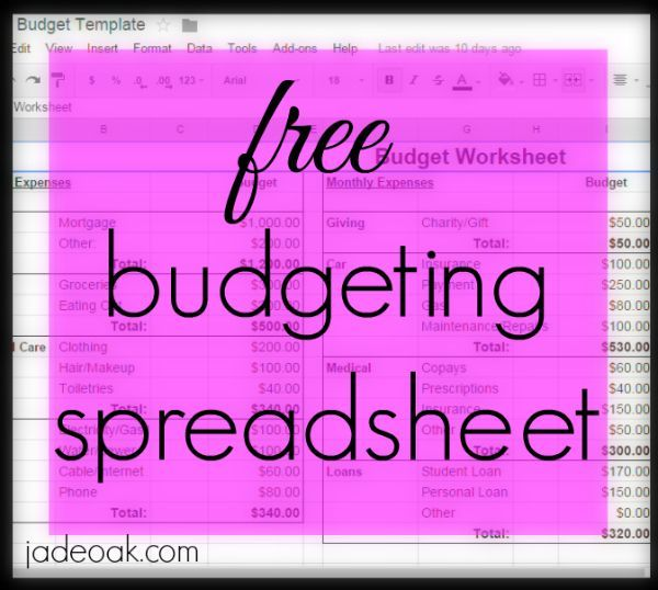 free budgeting spreadsheet - Free Budgeting Spreadsheet