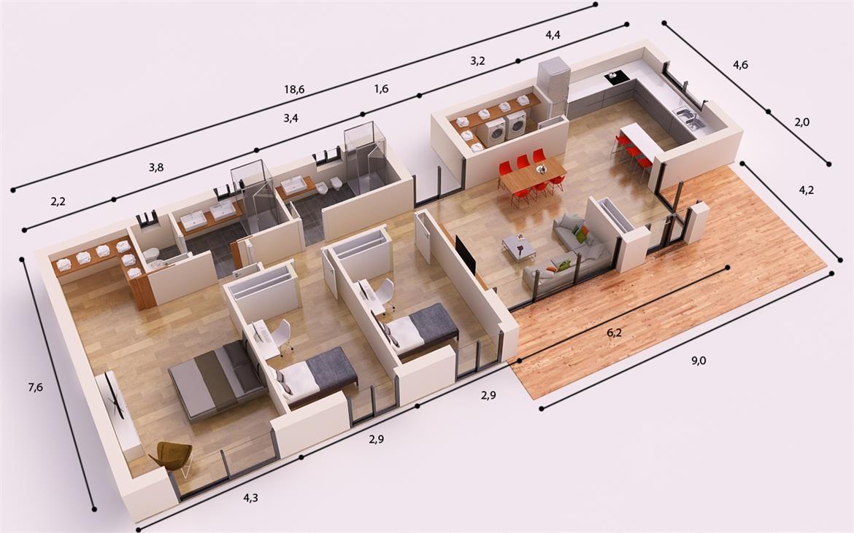 Denia casa piloto 150 m2 casas piloto donacasa casas for Casa moderna de 50 m2