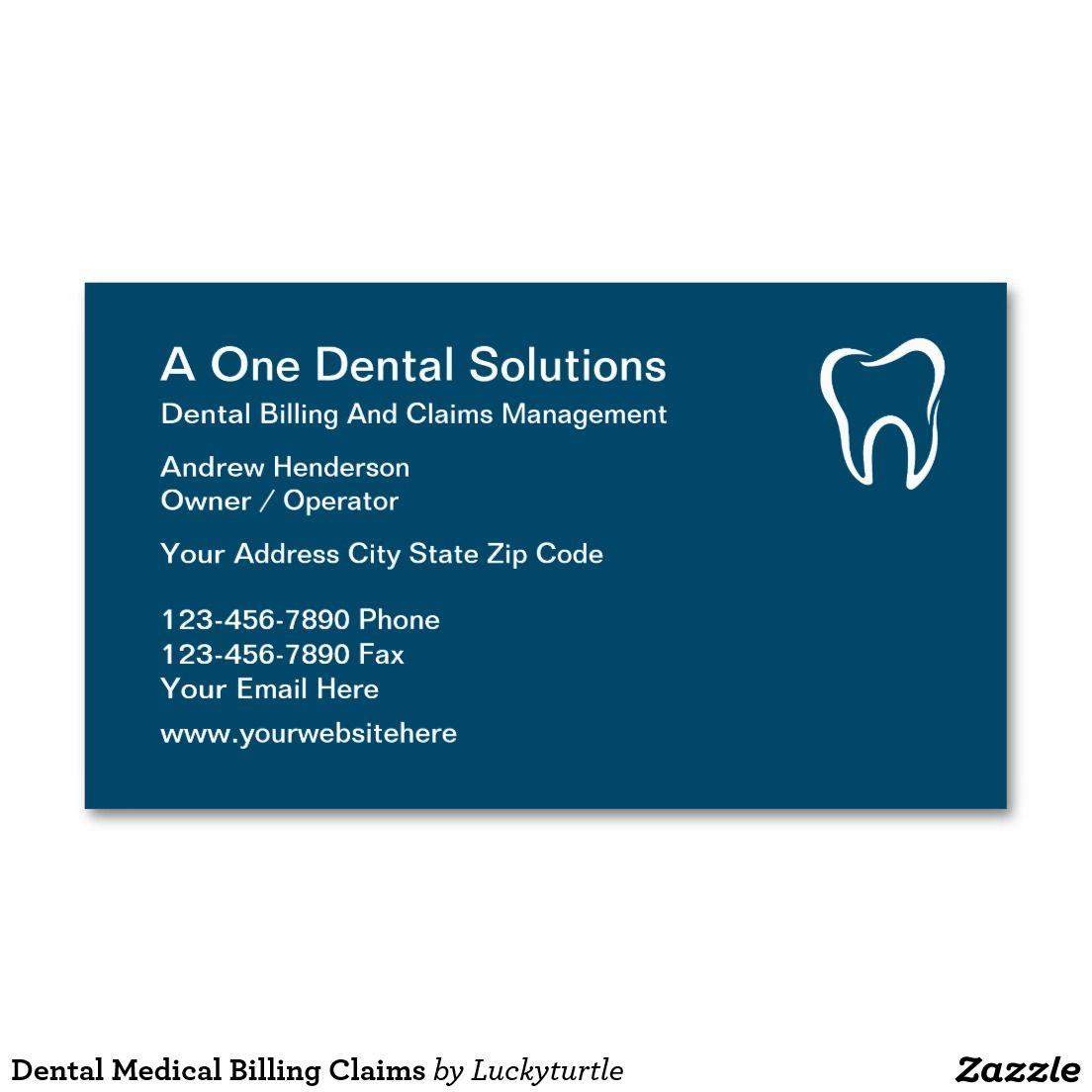 Dental Medical Billing Claims Business Card   Dental, Dentist ...