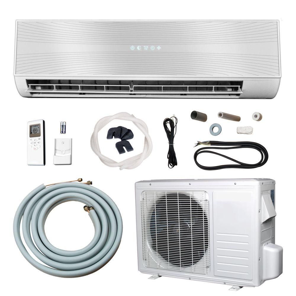 Ramsond 12 000 Btu 1 Ton Ductless Mini Split Air Conditioner And Heat Pump 110v 60hz 37gw2 The Home Depot Ductless Ductless Mini Split Heat Pump System