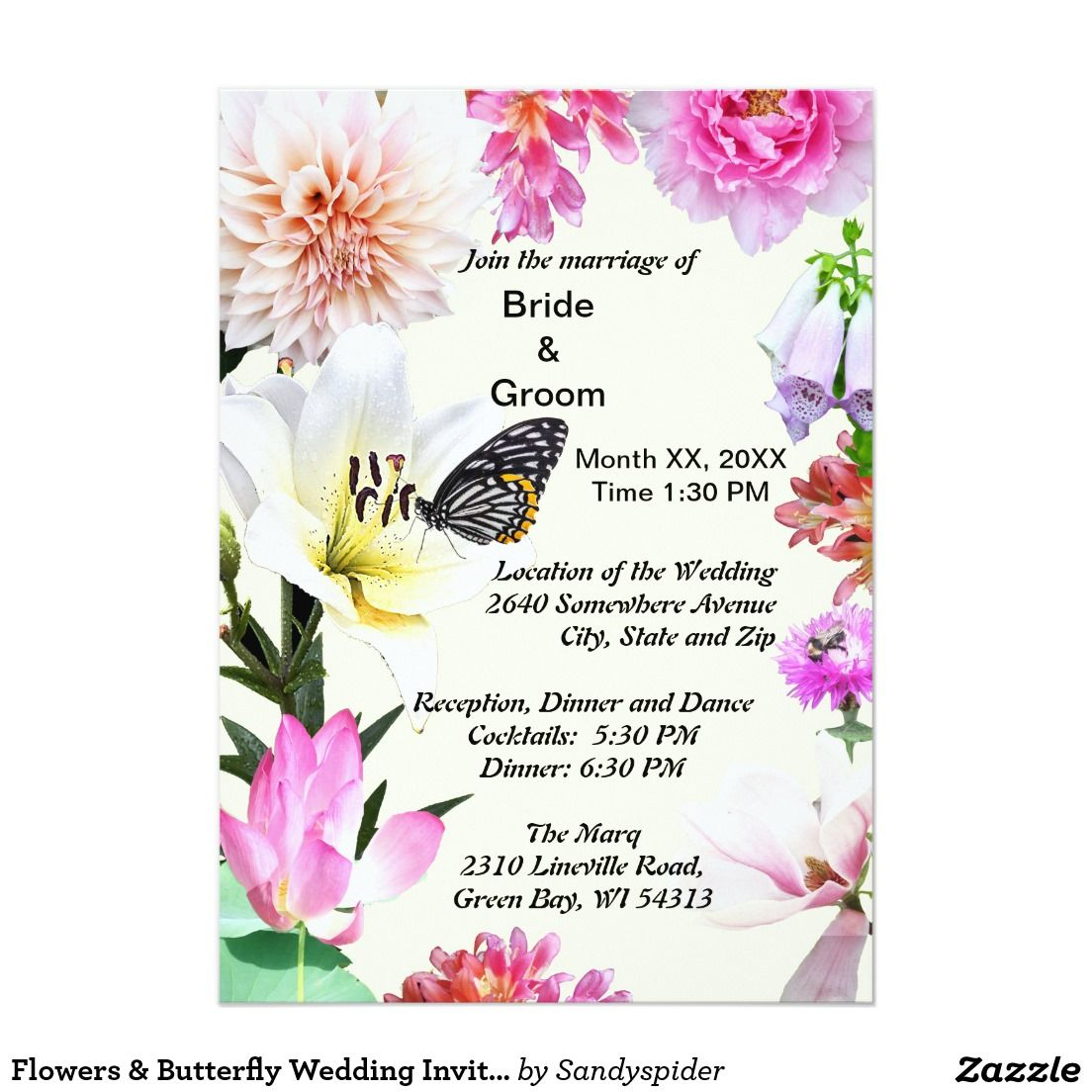 Flowers & Butterfly Wedding Invitation | Products