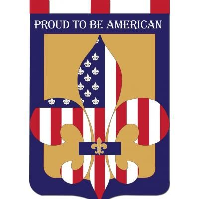 double applique proud to be american fleurdelis flag large or garden size