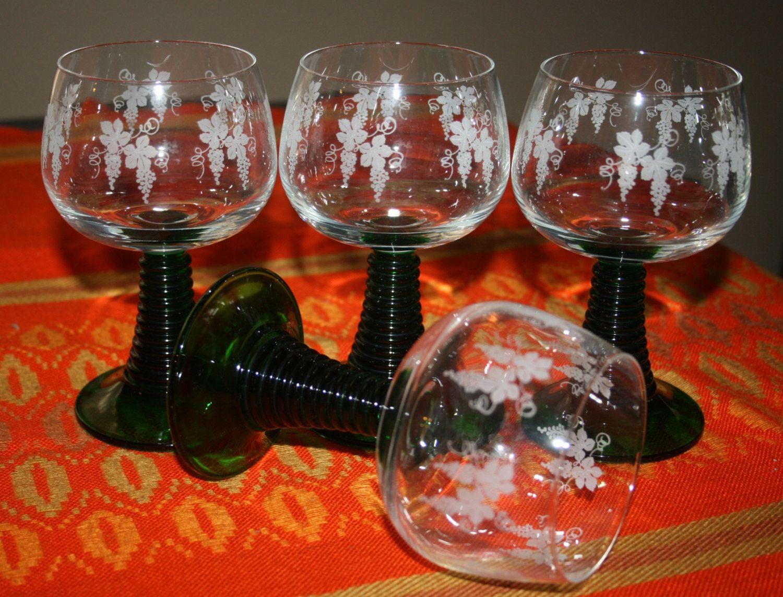 4 Four Vintage Roemer Wine Glasses Green Spiral Base White Grape Vine Design France Vine Design Grape Vines Wine Glasses