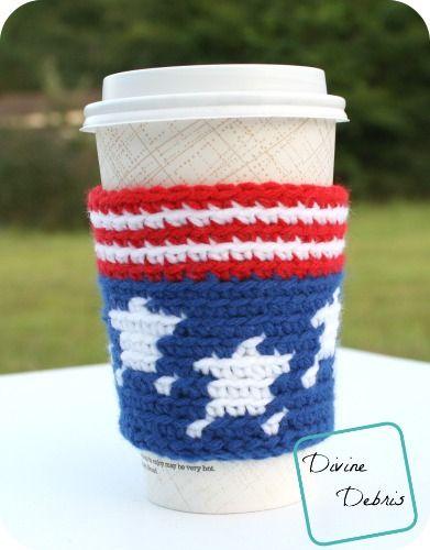 Stars And Stripes Travel Mug Cozy Crochet Pattern By Divinedebris