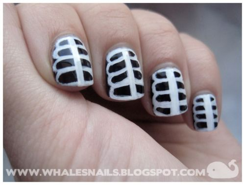 (via Whale's Nails: Skeleton Nail Art Tutorial) Click. - Via Whale's Nails: Skeleton Nail Art Tutorial) Click... Nail Art