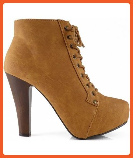 a517eee6b7fa5 Qupid Puffin-06 Camel High Heel Boot Nubuck Lace up Platform Bootie ...