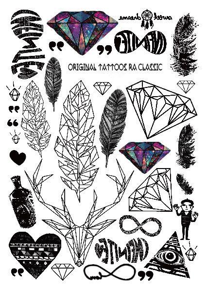 2016 Multi stil Mode Kühlen Temporäre Tattoo mit Federn und Diamant 21x15 cm