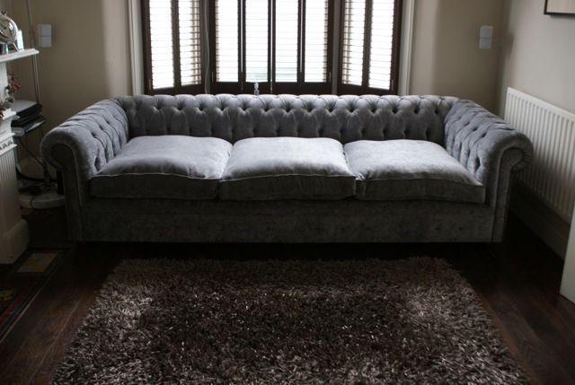 New Grey Velvet Handmade Chesterfield Large 4 Seater Sofa Settee