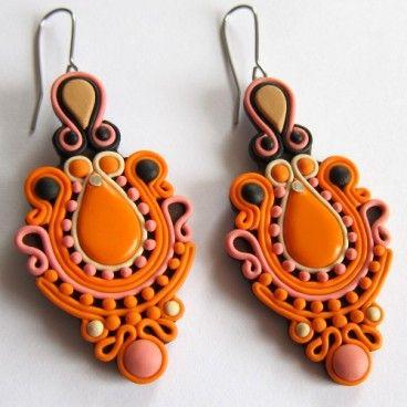 soutache using clay instead of ribbon | orientalne pomarańczowe kolczyki