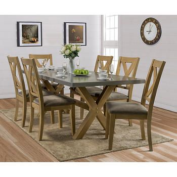 Best Cierra Zinc Top 7 Piece Dining Set 7 Piece Dining Set 400 x 300