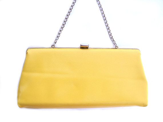 Vintage yellow Buskens purse, sunny yellow vinyl handbag, bright canary yellow clutch, lemon yellow baguette, 1980s fashion evening bag