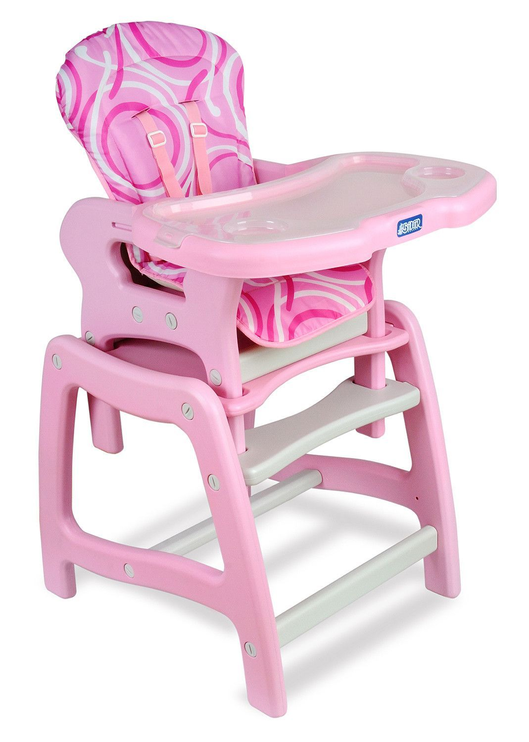 Envee baby high chair with playtable conversion pink and