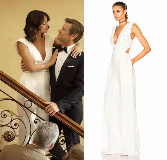 1e34cc486774 ... plunging v neck jumpsuit in the Dynasty series premiere episode