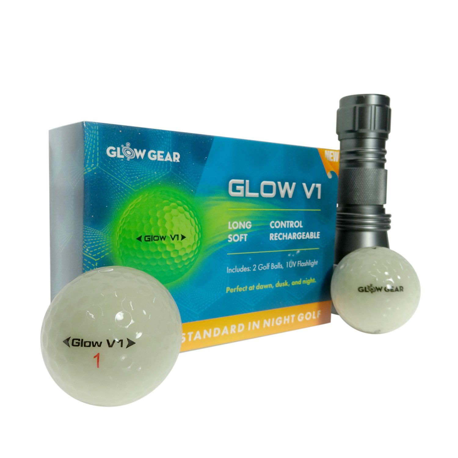 Golf Clubs Glowv2 Night Golf Balls 2pack Best Hitting Ultra Bright Glow Golf Ball Compression Core And Urethane Skin Incl Golf Gifts Golf Clubs Glow Gear