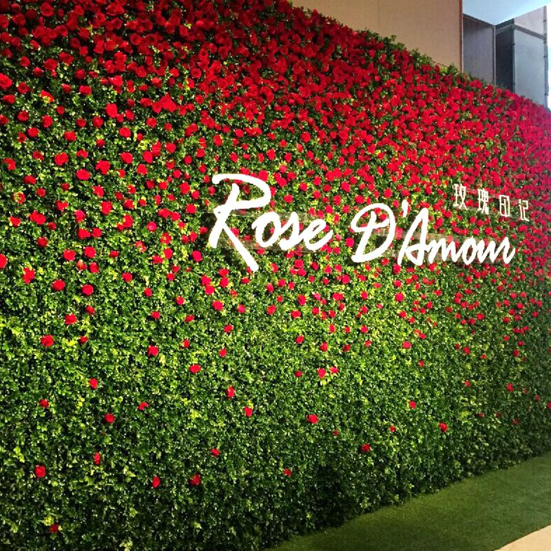 Simulation Rose Flower Decoration Wall Wedding Plant Wall Green Wall Background Wall Living Room Flower Wall Wedding Wedding Stage Decorations Wedding Backdrop