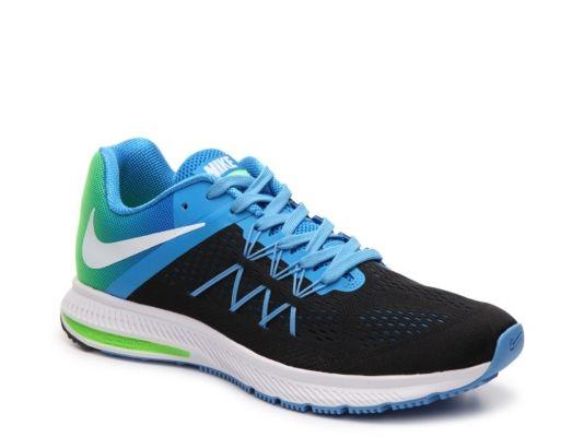 Men s Nike Zoom Winflo 3 Premium Lightweight Running Shoe - -  Black Blue Green 0310152c0