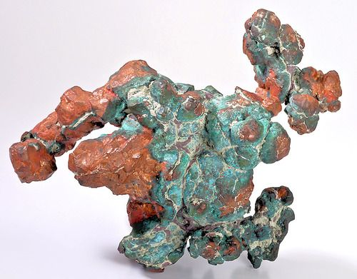 Copper with Malachite from Michigan  by Exceptional Minerals