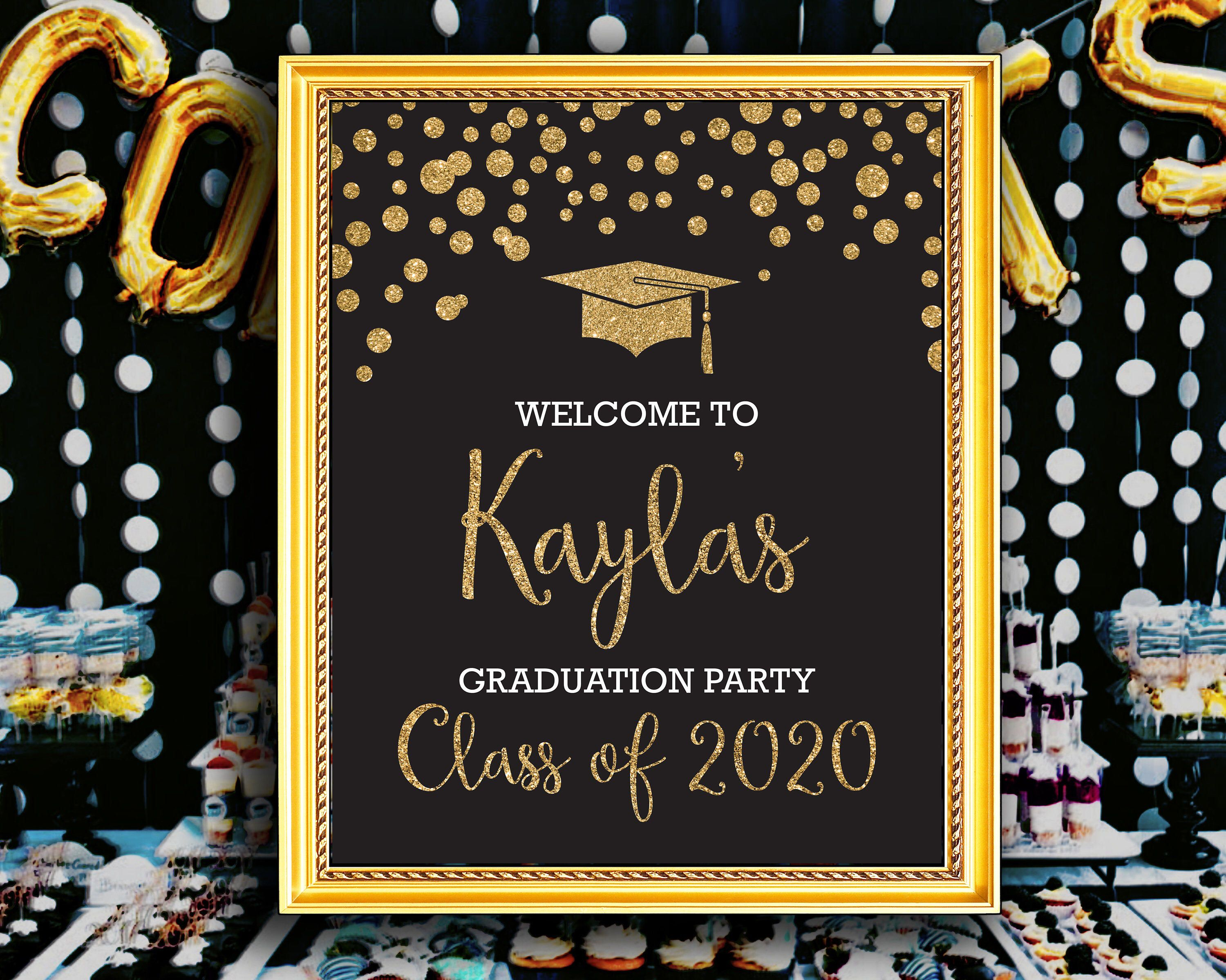 Personalized Graduation Welcome Poster, Black and Gold ...