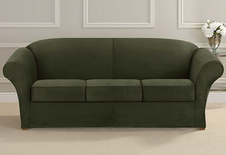 Ultimate Stretch Suede Three Piece Sofa Slipcover Form