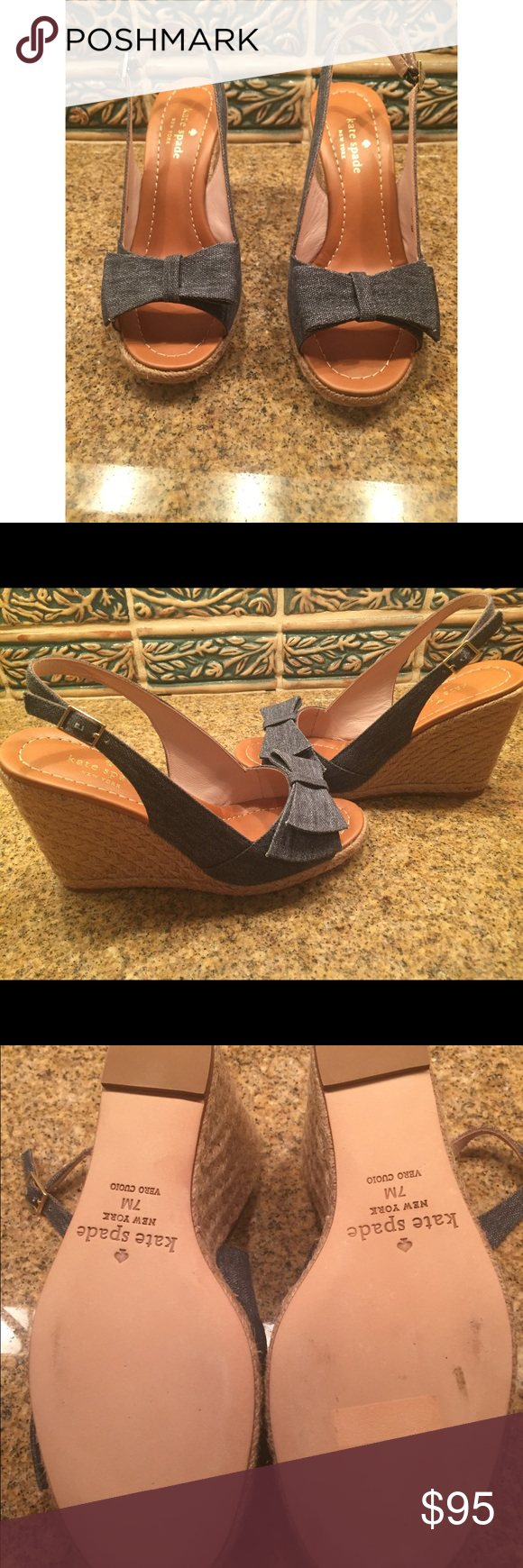 "Kate Spade ""Boardwalk"" Wedges Kate Spade Boardwalk Wedges. The material is denim canvas with natural rope covering the heel. 3.5"" heel and a adjustable ankle strap. The right shoe was the display shoe that is why the sole is slightly scuffed. kate spade Shoes Wedges"