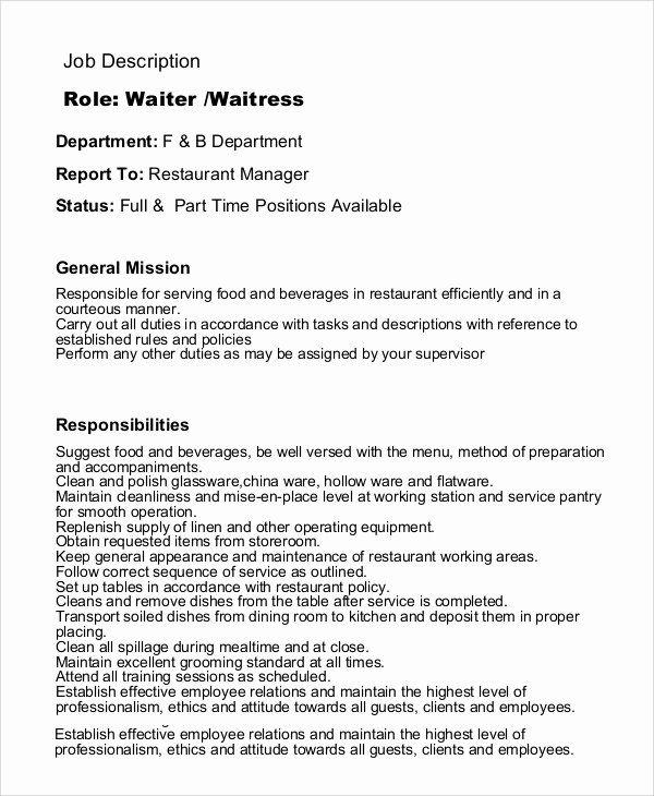 Waiter Job Description Resume Elegant Sample Waitress Job Description 9 Examples In Pdf Job Description Job Resume Job Description Template