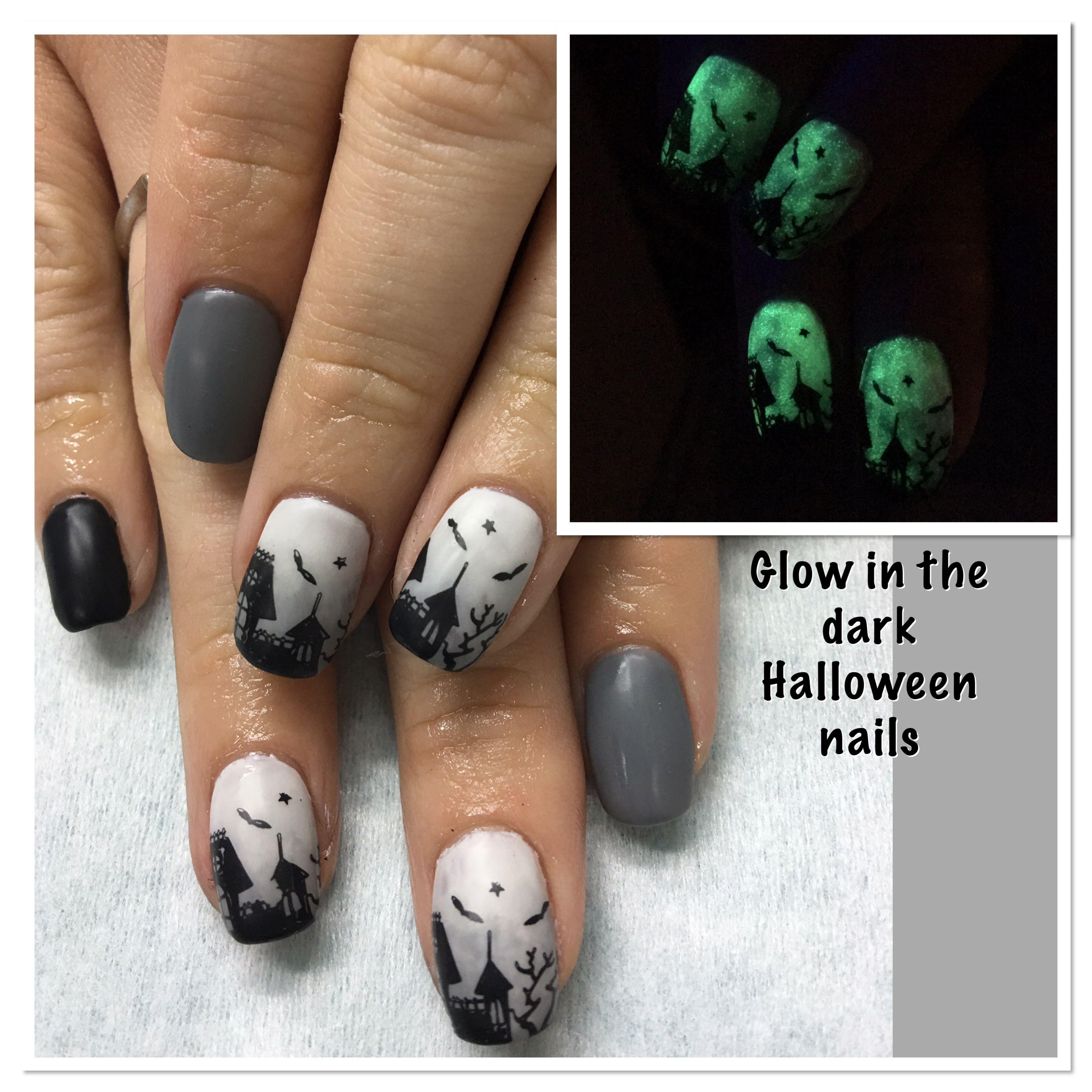 Glow in the Dark Halloween ombré Haunted Spooky House Black Grey ...
