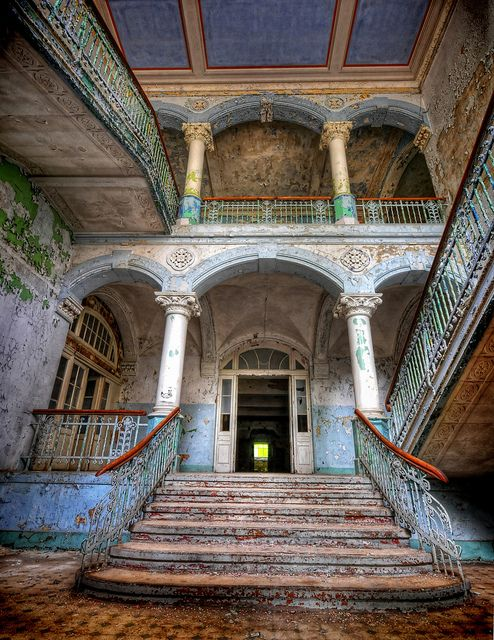 A Beelitz Heilstätten staircase, one of many on this site of 60 abandoned buildings. Adolf Hitler was himself a patient here after being injured during World War 1.