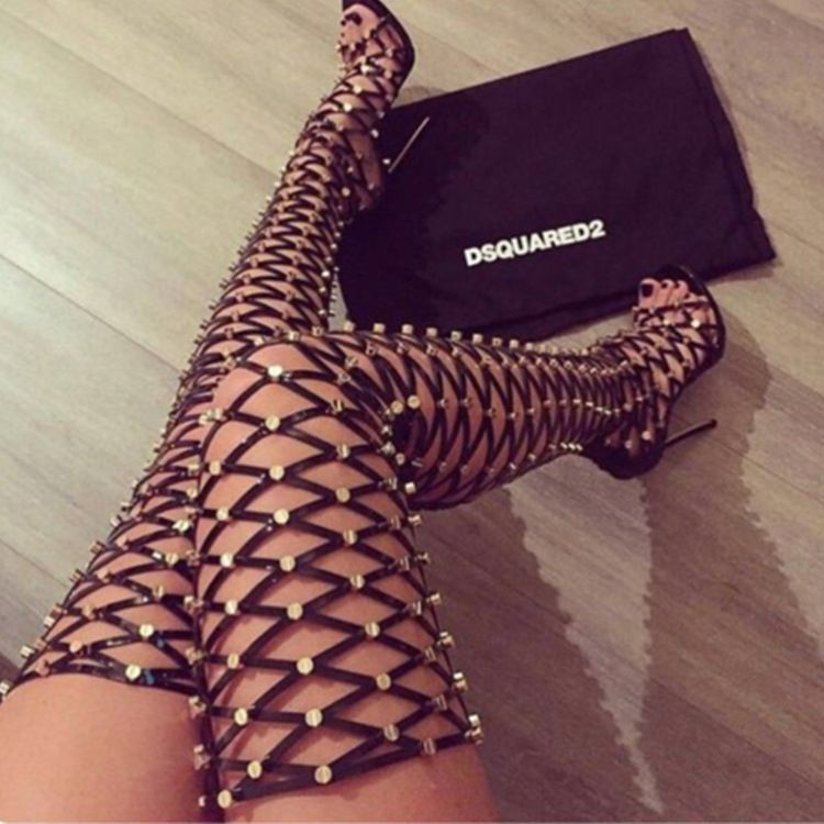 Summer Gladiator Boots With Lace Up High Heels