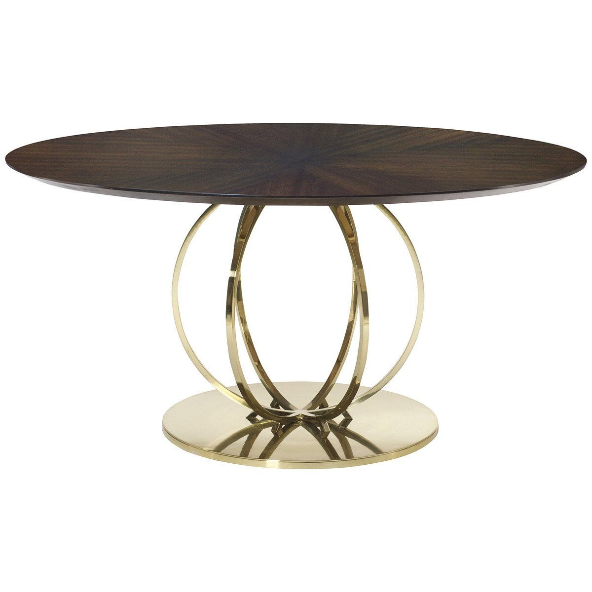Bernhardt Jet Set Round Dining Table Features Fancy Face Top