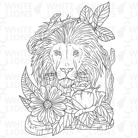Printable Coloring Page Animal Lion By WhiteLionsStudio