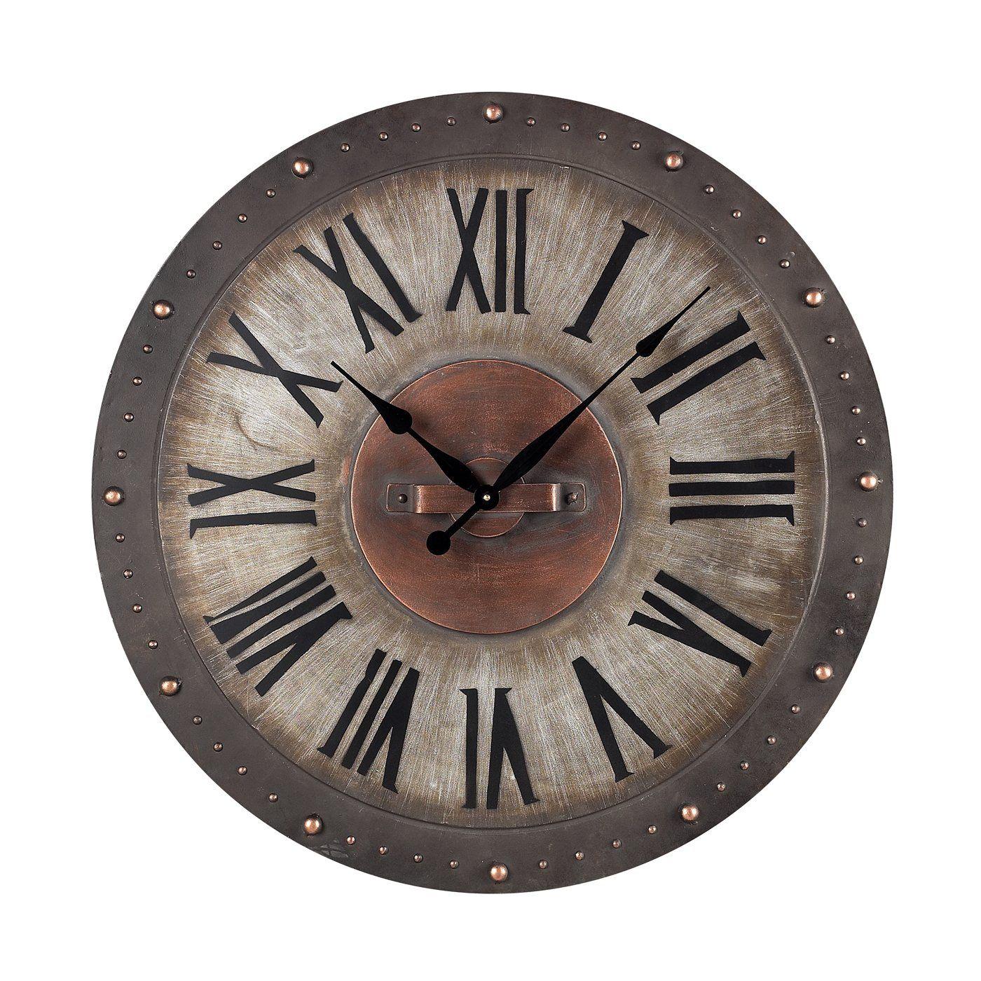 Sterling Industries 128 1005 Metal Roman Numeral Outdoor Wall Clock Industrial Clock Wall Outdoor Wall Clocks Roman Numeral Wall Clock