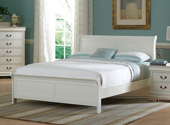 Marianne Casual White Wood Full Sleigh Bed Home Elegance Furniture