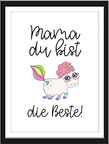 Wand-Bild Kunstdruck mit Spruch MAMA DU BIST DIE BESTE Din A4 Poster - Wandgestaltung Wohnzimmer Grau Lila