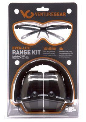 Pyramex Ever-Lite Shooting Glasses/Ear Muffs Range Kit - Black