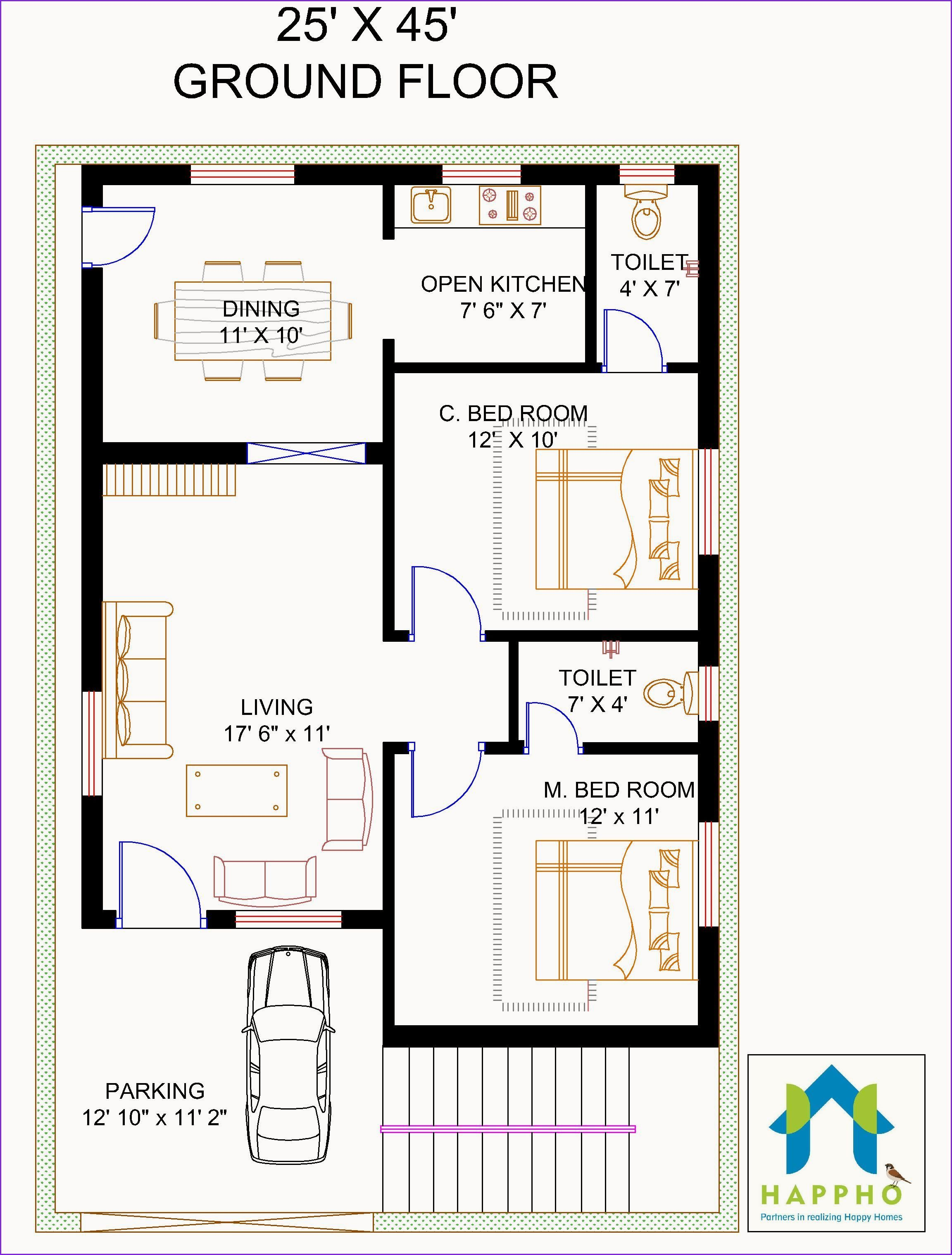 Awesome 1600 Sq Ft Open Concept House Plans In 2020 20x40 House Plans Bedroom House Plans Indian House Plans