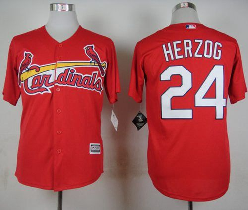 Men's St. Louis Cardinals #24 Whitey Herzog 2015 Red Cool Base Jersey