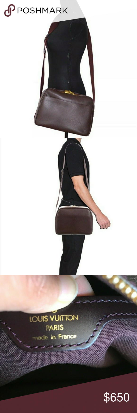 8aa2f784c3c Louis Vuitton ~ Burgundy Taiga Reporter PM Bag Louis Vuitton. In nearly  mint condition.