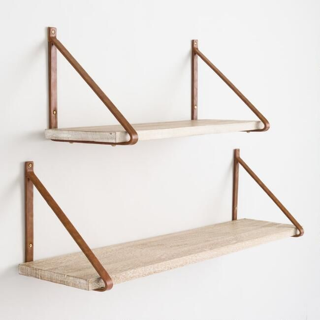 Textured Whitewash Wood Mix & Match Wall Shelves